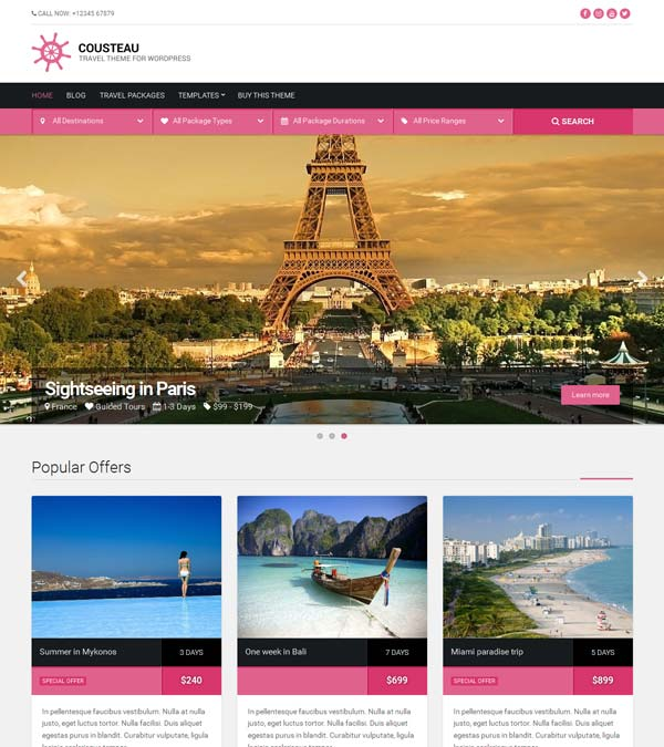 Cousteau Travel WordPress Theme