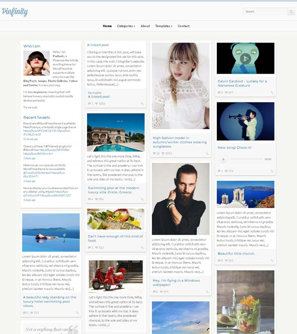 Pinfinity Pinterest Style WordPress Theme