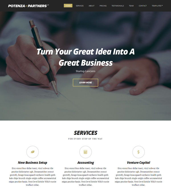 Potenza One Page WordPress Theme