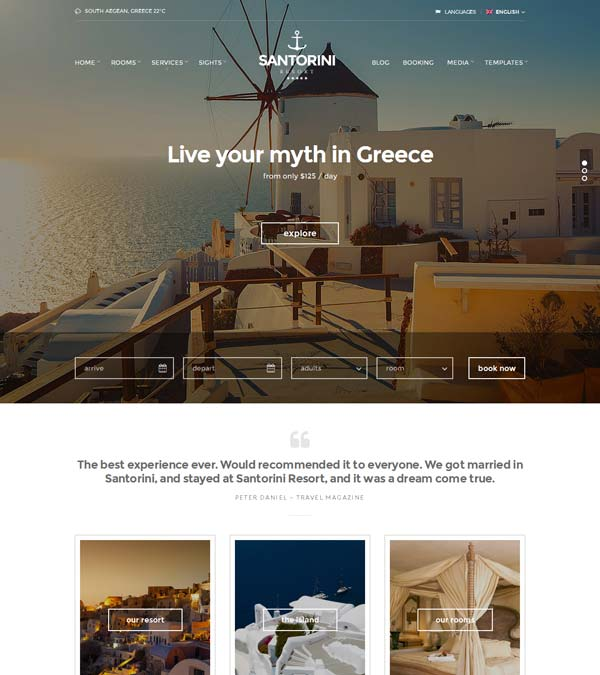Santorini Resort WordPress Theme