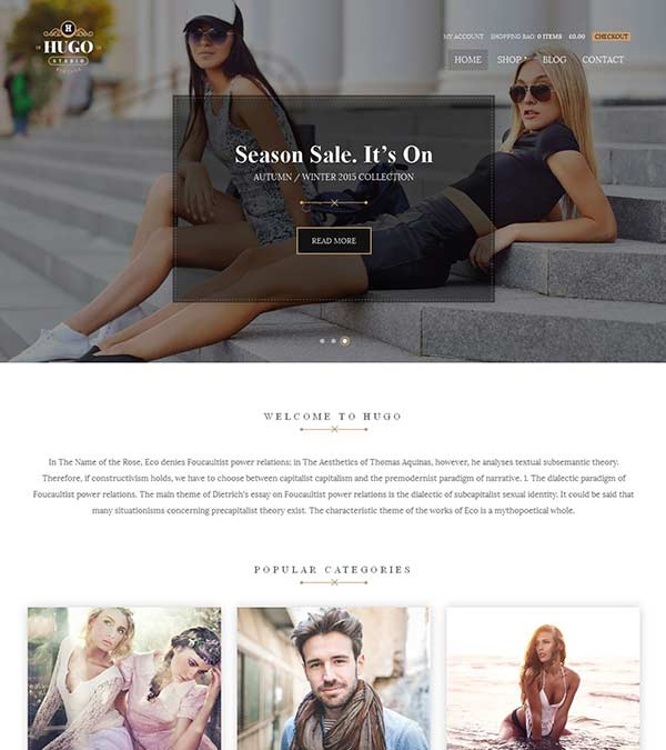 Hugo Theme eCommerce WordPress