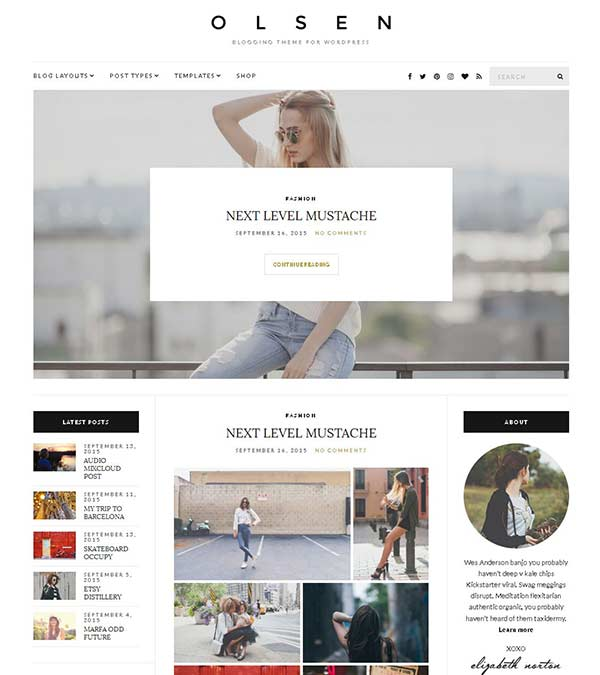 Olsen Blogging WordPress Theme