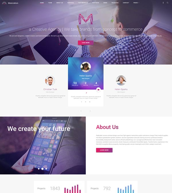 Materialism WordPress Landing Page