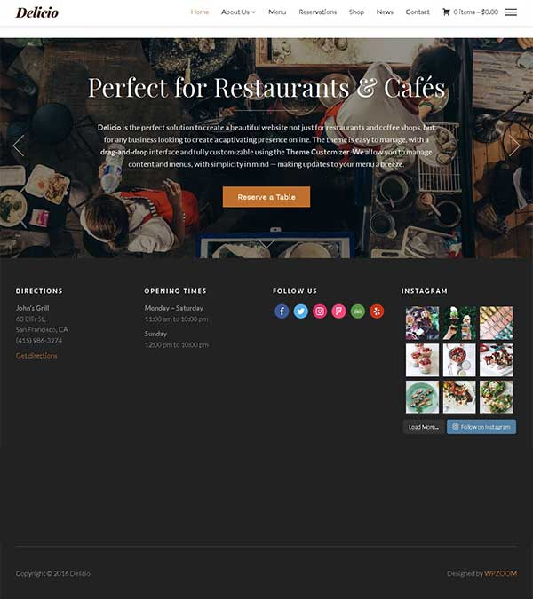 Download Delicio Theme Restaurants Coffee Shops