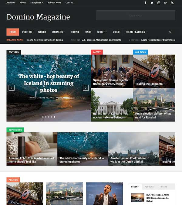 Domino Theme News WordPress