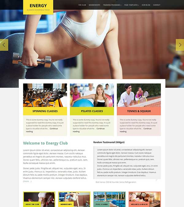 Download Energy Theme Health Fitness WordPress