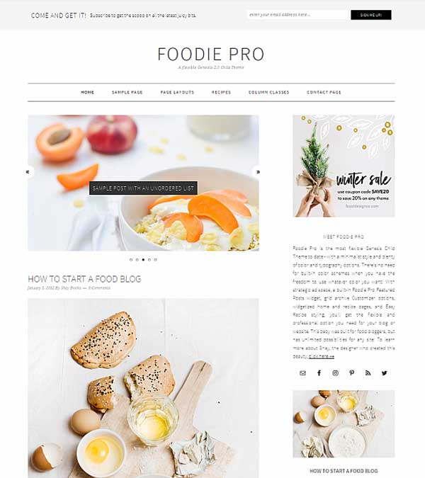 Download Foodie Pro Food Blog WordPress Theme