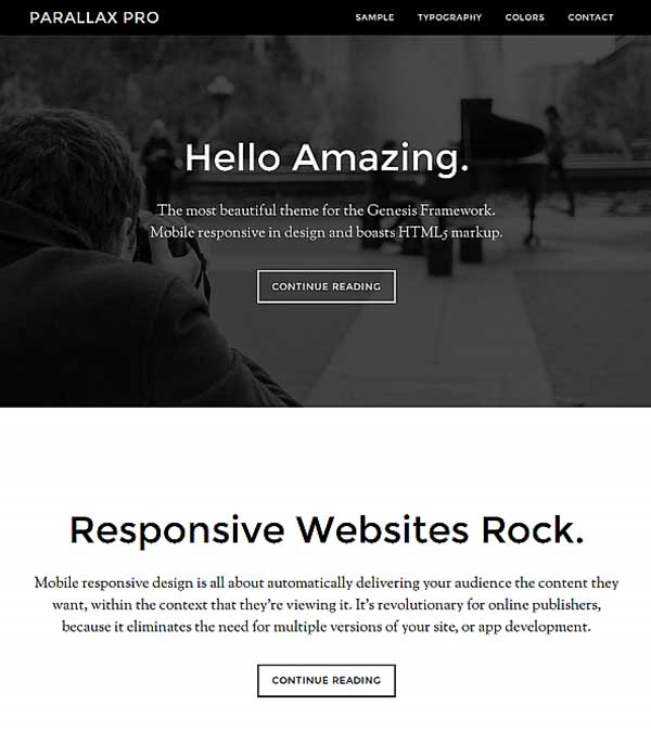 Parallax Pro Genesis WordPress Theme