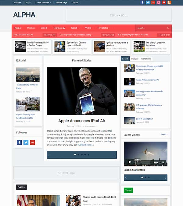 Alpha Magazine WordPress Theme