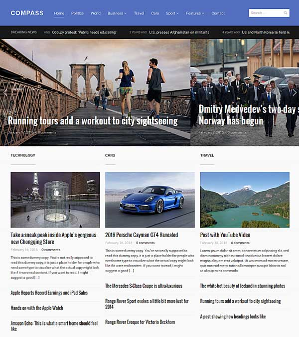 Download Compass Magazine WordPress Theme