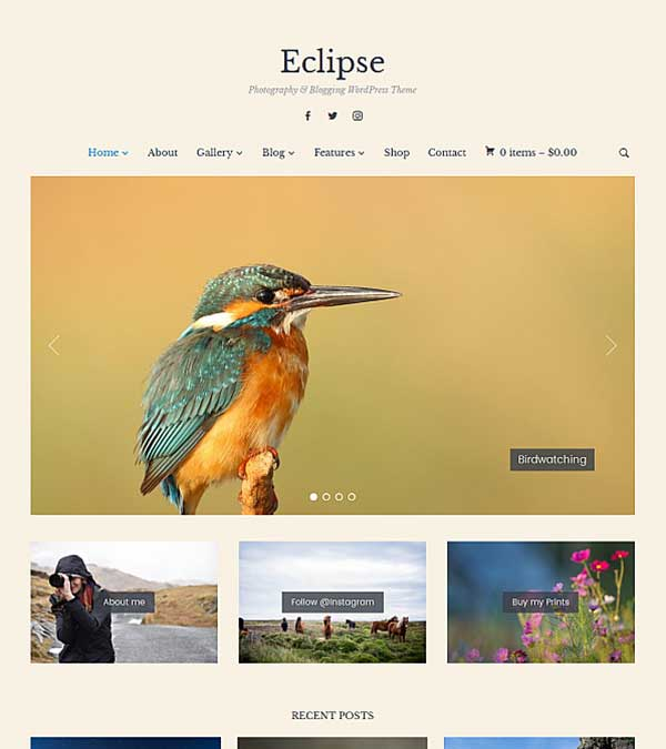 Eclipse Photography Blogging Theme
