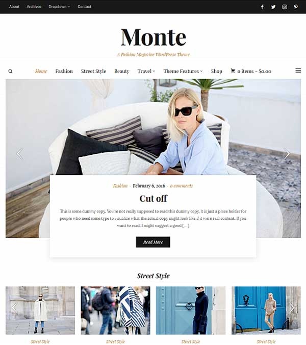 Download Monte Blog Magazine WP Theme