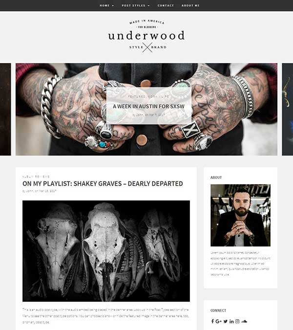 Underwood Bold Blogging WP Theme