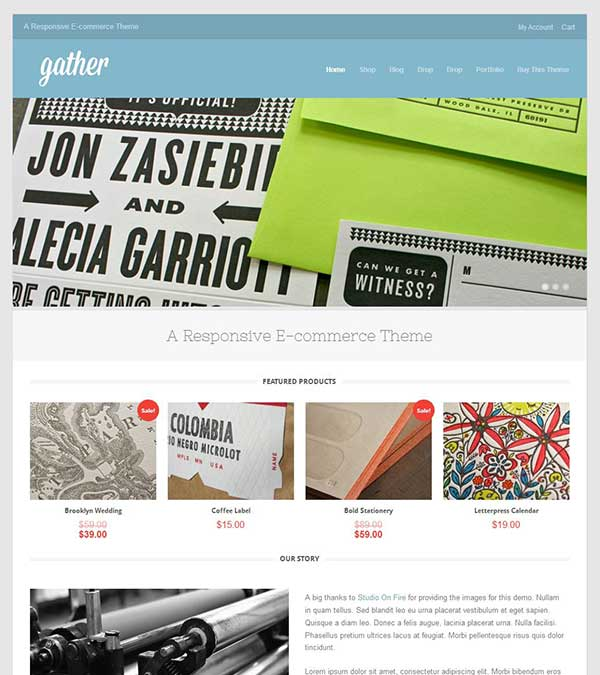 Gather Minimal ECommerce WP Theme