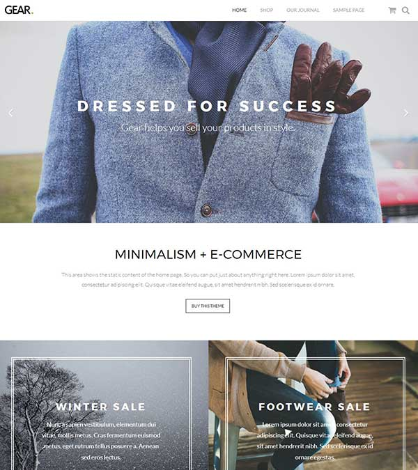 Gear Minimalist ECommerce WP Theme
