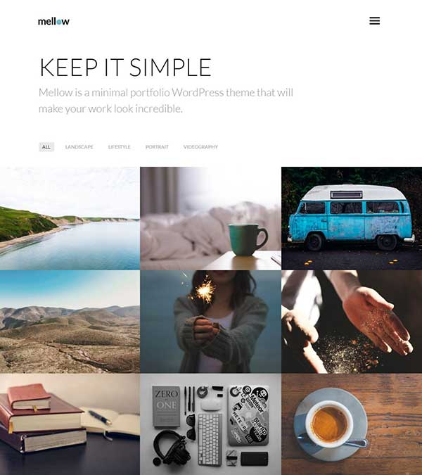 Mellow Minimal Portfolio WP Theme