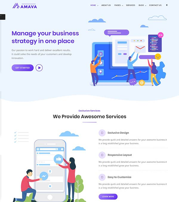 Amava Startup Agency Web Template