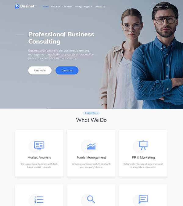 Businet Consulting Website Template