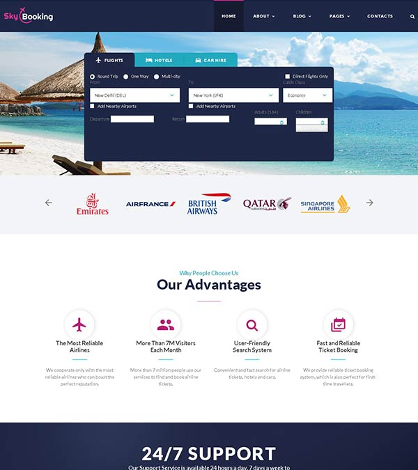 Download SkyBooking Travel Agency Template