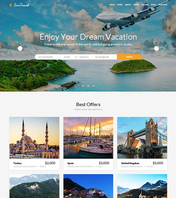Sun Travel Agency Web Template