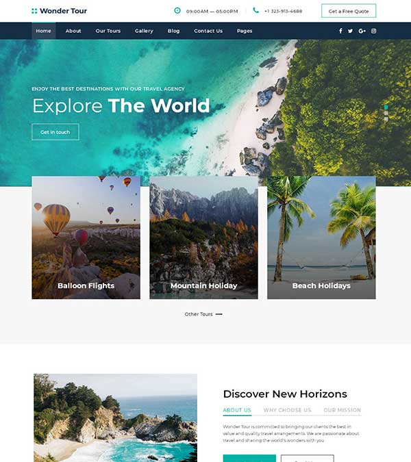Wonder Tour Travel Agency Template
