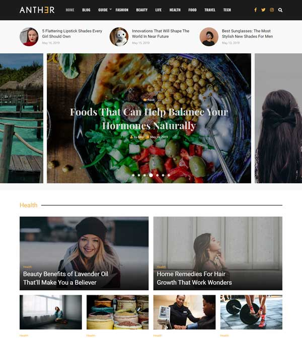 Download Anther News Magazine Blog Theme