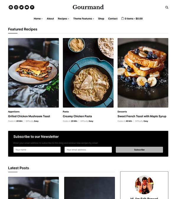 Gourmand Theme For Food Blogs