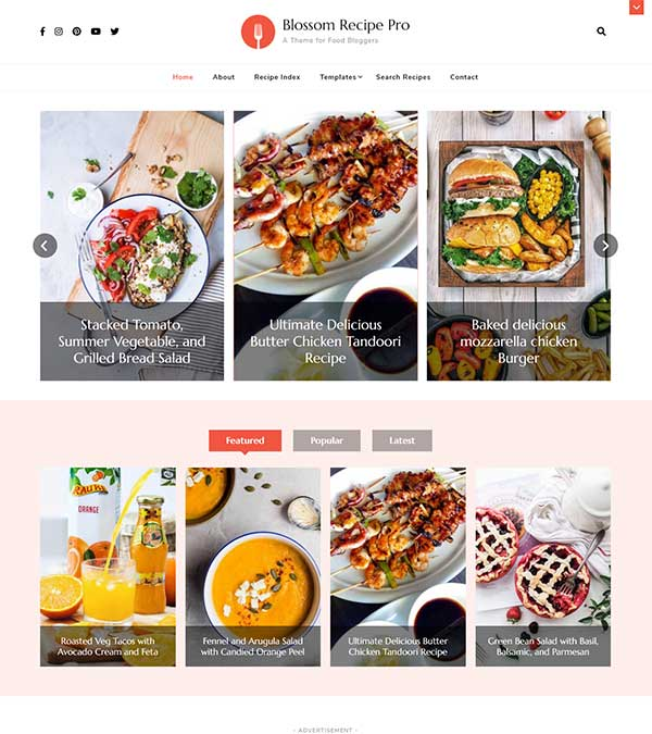 Download Blossom Recipe Pro [Food Blog] WP Theme