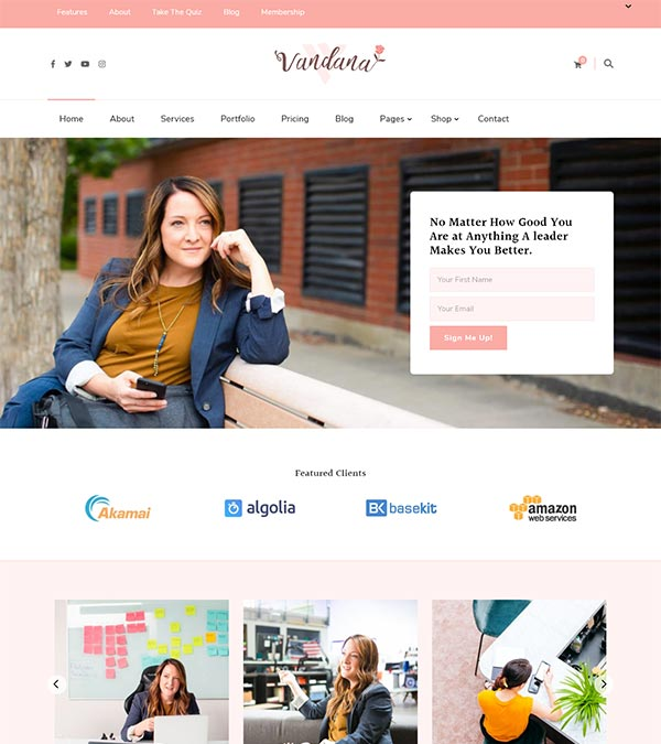 Vandana Coaches Speakers WP Theme