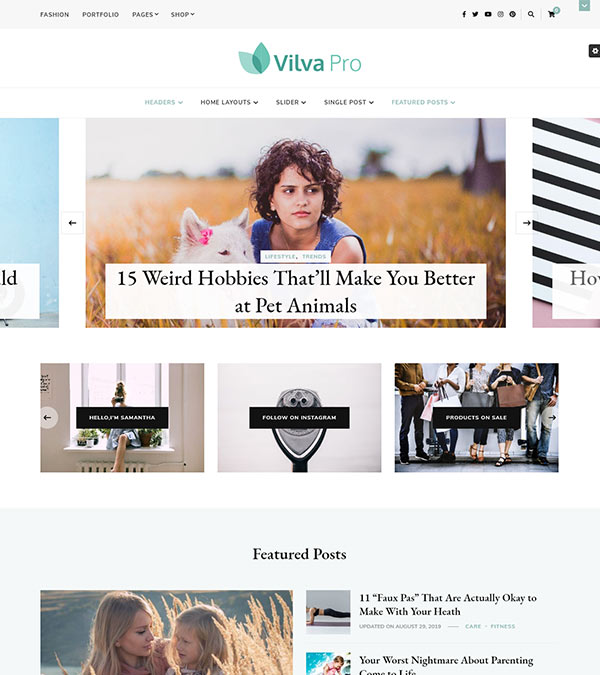 Vilva Pro Blogging WordPress Theme