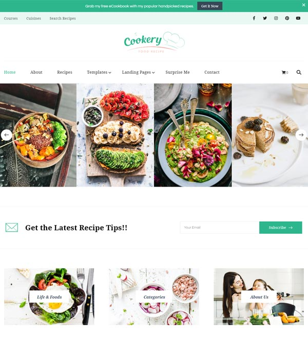 Cookery Pro Lead Generating Recipe Theme