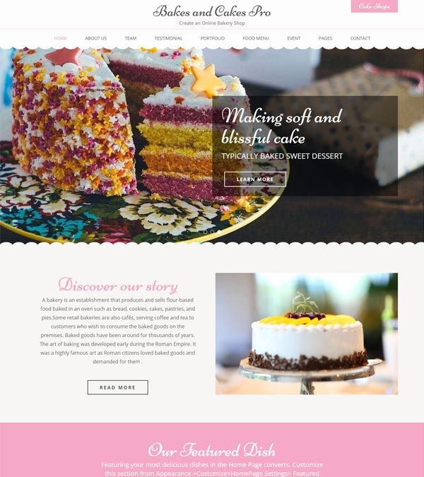 Bakes and Cakes Pro WP Theme