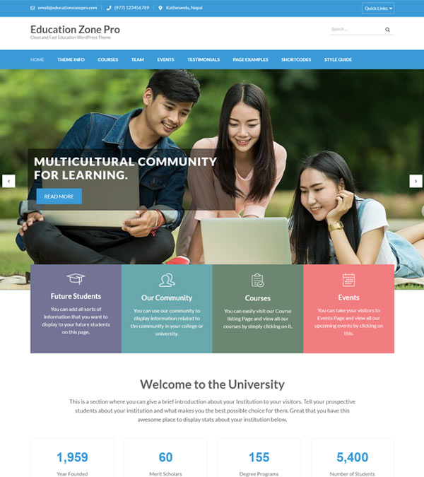 Download Education Zone Pro WordPress Theme