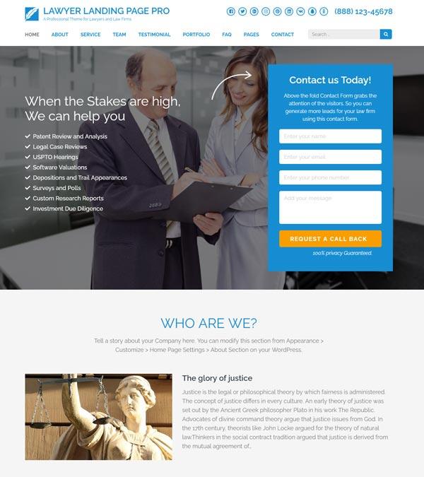 Lawyer Landing Page Pro WP Theme