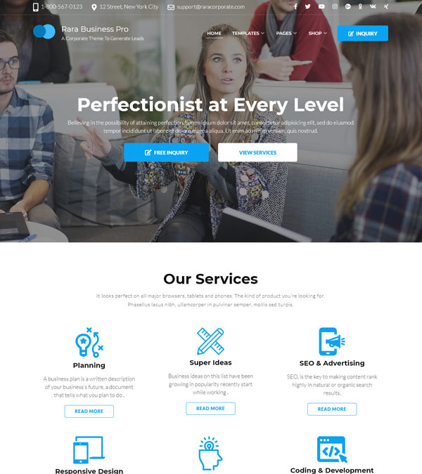 Rara Business Pro WordPress Theme