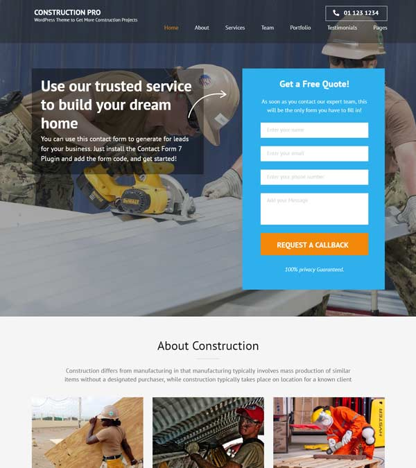 Construction Landing Page Pro WP Theme